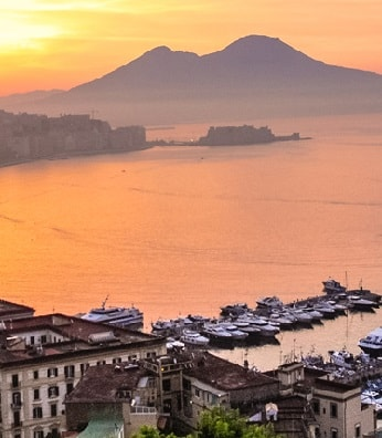 Naples Italy at sunset